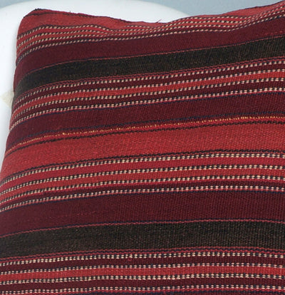 Ethnic decorative pillow cover , Bohemian pillow case, Modern home decor Striped Red Black handwoven pillow ,2686 - kilimpillowstore  - 3