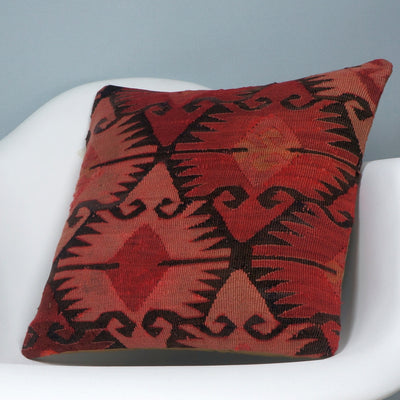 Kilim  pillow cover 16, throw cushion, Ethnic pillow, Boho pillow  Red Black 2693 - kilimpillowstore  - 2