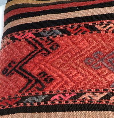 Geometric  handwoven chevron red black   pillow , Decorative Kilim pillow cover  2719 - kilimpillowstore  - 3