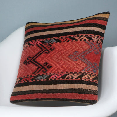 Geometric  handwoven chevron red black   pillow , Decorative Kilim pillow cover  2719 - kilimpillowstore  - 2