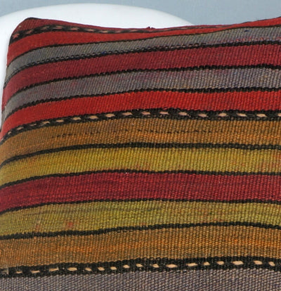 Ethnic decorative pillow cover , Bohemian pillow case, Modern home decor Striped Multi colour handwoven pillow ,2679 - kilimpillowstore  - 3