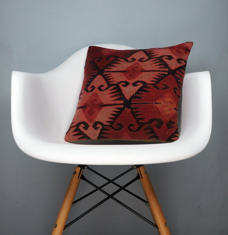 Kilim  pillow cover 16, throw cushion, Ethnic pillow, Boho pillow  Red Black 2691 - kilimpillowstore  - 1