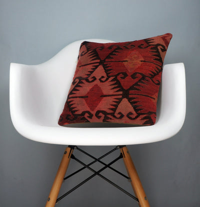 Kilim  pillow cover 16, throw cushion, Ethnic pillow, Boho pillow  Red Black 2693 - kilimpillowstore  - 1