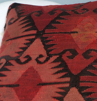 Kilim  pillow cover 16, throw cushion, Ethnic pillow, Boho pillow  Red Black 2693 - kilimpillowstore  - 3