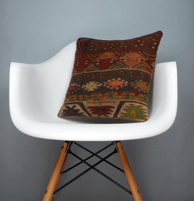 Kilim  pillow cover 16, throw cushion, Ethnic pillow, Boho pillow Multi colour 2709 - kilimpillowstore  - 1