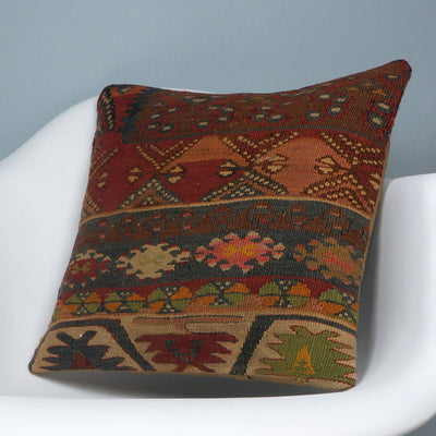 Kilim  pillow cover 16, throw cushion, Ethnic pillow, Boho pillow Multi colour 2709 - kilimpillowstore  - 2