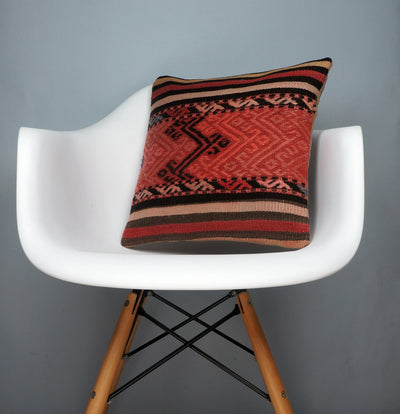 Geometric  handwoven chevron red black   pillow , Decorative Kilim pillow cover  2717 - kilimpillowstore  - 1