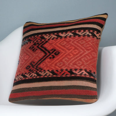 Geometric  handwoven chevron red black   pillow , Decorative Kilim pillow cover  2717 - kilimpillowstore  - 2