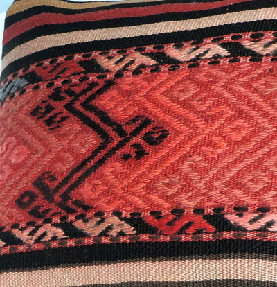 Geometric  handwoven chevron red black   pillow , Decorative Kilim pillow cover  2717 - kilimpillowstore  - 3