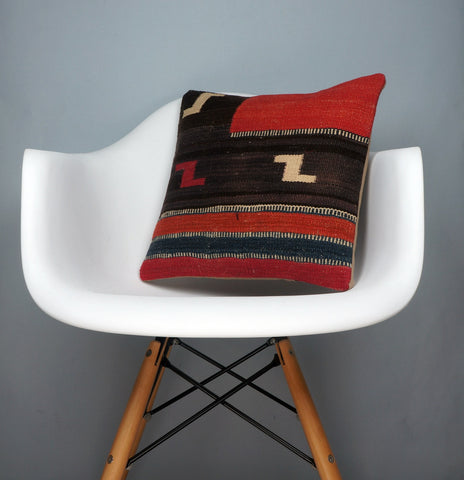 Geometric  handwoven  Red    pillow , Decorative Kilim pillow cover  2725 - kilimpillowstore  - 1