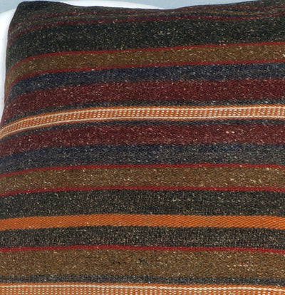 16x16 Hand Woven wool tribal ethnic striped Soft Colour Kilim Pillow cushion 2742 - kilimpillowstore  - 3