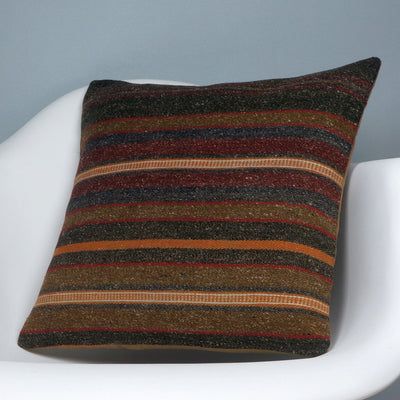 16x16 Hand Woven wool tribal ethnic striped Soft Colour Kilim Pillow cushion 2742 - kilimpillowstore  - 2