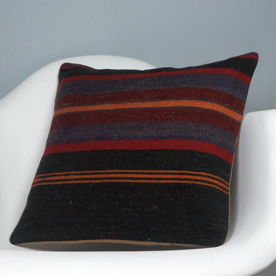 16x16 Hand Woven wool tribal ethnic striped Soft Colour Kilim Pillow cushion 2747 - kilimpillowstore  - 2