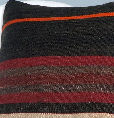 16x16 Hand Woven wool tribal ethnic striped Soft Colour Kilim Pillow cushion 2755 - kilimpillowstore  - 3