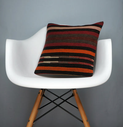 16x16 Hand Woven wool tribal ethnic striped Soft Colour Kilim Pillow cushion 2757 - kilimpillowstore  - 1
