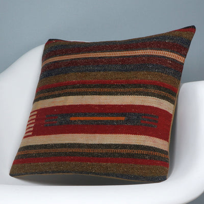 16x16 Hand Woven wool tribal ethnic striped Soft Colour Kilim Pillow cushion 2768 - kilimpillowstore  - 2