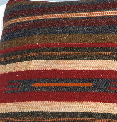 16x16 Hand Woven wool tribal ethnic striped Soft Colour Kilim Pillow cushion 2768 - kilimpillowstore  - 3