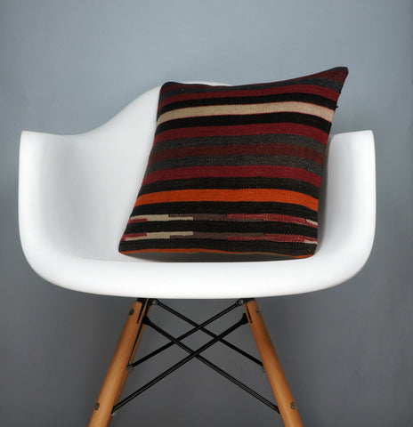 16x16 Hand Woven wool tribal ethnic striped Soft Colour Kilim Pillow cushion 2773 - kilimpillowstore  - 1