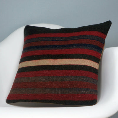 16x16 Hand Woven wool tribal ethnic striped Soft Colour Kilim Pillow cushion 2775 - kilimpillowstore  - 2