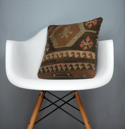 Geometric  kilim pillow sham, Tribal cushion cover, Handwoven pillowcase , mid century decor 2781 - kilimpillowstore  - 1