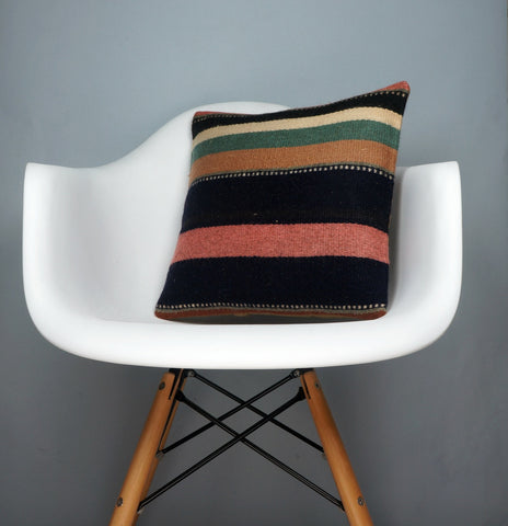 16x16 Hand Woven wool tribal ethnic striped Soft colour Kilim Pillow cushion 2782 - kilimpillowstore  - 1