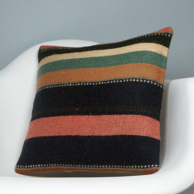 16x16 Hand Woven wool tribal ethnic striped Soft colour Kilim Pillow cushion 2782 - kilimpillowstore  - 2