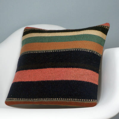 16x16 Hand Woven wool tribal ethnic striped Soft colour Kilim Pillow cushion 2790 - kilimpillowstore  - 2