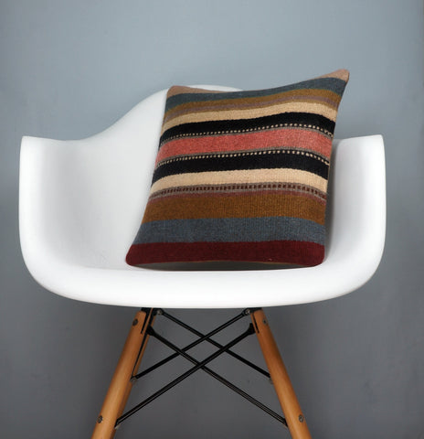 16x16 Hand Woven wool tribal ethnic striped Soft colour Kilim Pillow cushion 2792 - kilimpillowstore  - 1