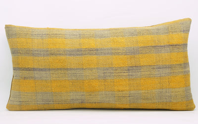 12x24 Vintage Hand Woven Kilim Pillow Lumbar Bohemian pillow case, Modern home decor Yellow beige  striped 980 - kilimpillowstore  - 2