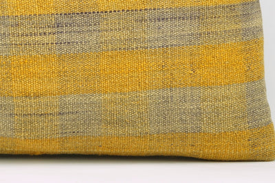 12x24 Vintage Hand Woven Kilim Pillow Lumbar Bohemian pillow case, Modern home decor Yellow beige  striped 980 - kilimpillowstore  - 4