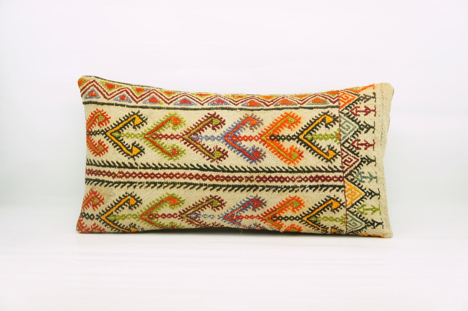12x24  Geometric kilim pillow sham, Tribal cushion cover, Handwoven pillowcase , mid century decor multi colour 1214