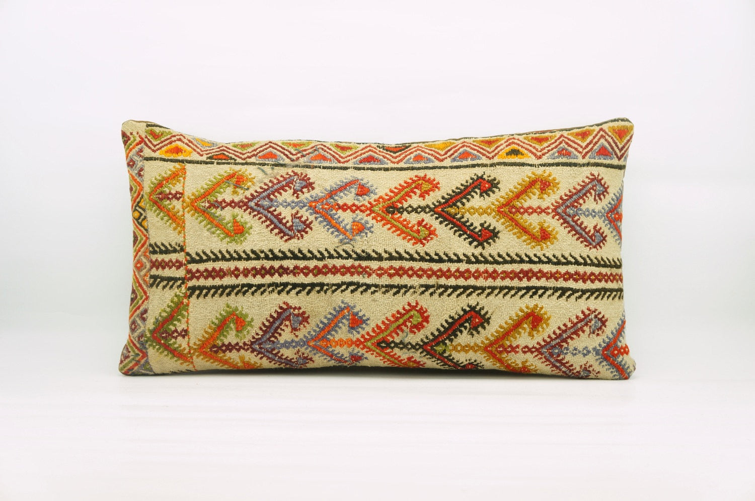 12x24  Geometric kilim pillow sham, Tribal cushion cover, Handwoven pillowcase , mid century decor multi colour 1216