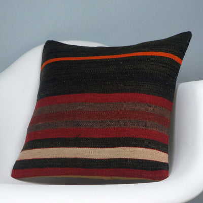 16x16 Hand Woven wool tribal ethnic striped Soft Colour Kilim Pillow cushion 2755 - kilimpillowstore  - 2