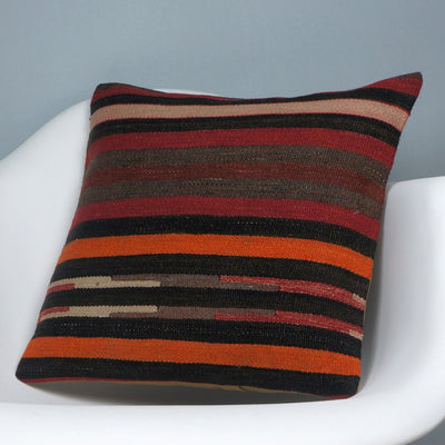 16x16 Hand Woven wool tribal ethnic striped Soft Colour Kilim Pillow cushion 2757 - kilimpillowstore  - 2