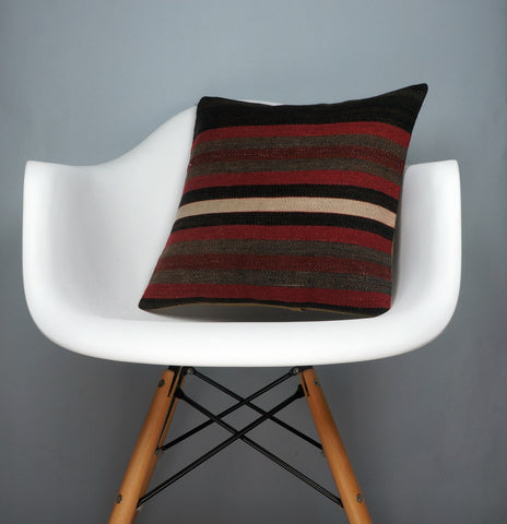 16x16 Hand Woven wool tribal ethnic striped Soft Colour Kilim Pillow cushion 2758 - kilimpillowstore  - 1