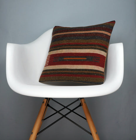 16x16 Hand Woven wool tribal ethnic striped Soft Colour Kilim Pillow cushion 2768 - kilimpillowstore  - 1