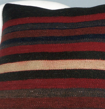 16x16 Hand Woven wool tribal ethnic striped Soft Colour Kilim Pillow cushion 2775 - kilimpillowstore  - 3