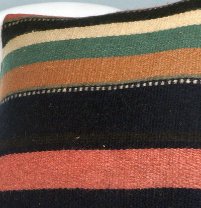 16x16 Hand Woven wool tribal ethnic striped Soft colour Kilim Pillow cushion 2782 - kilimpillowstore  - 3