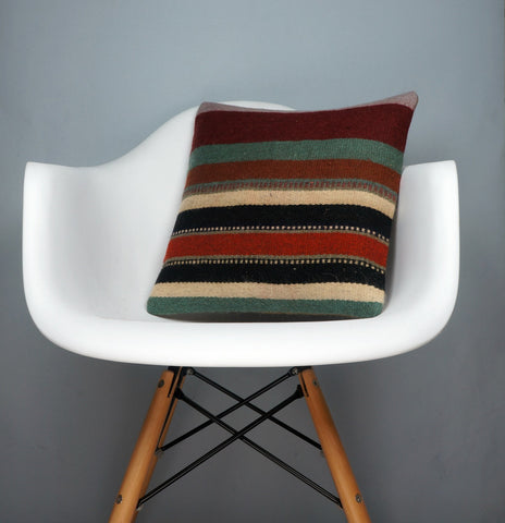 16x16 Hand Woven wool tribal ethnic striped Soft colour Kilim Pillow cushion 2785 - kilimpillowstore  - 1