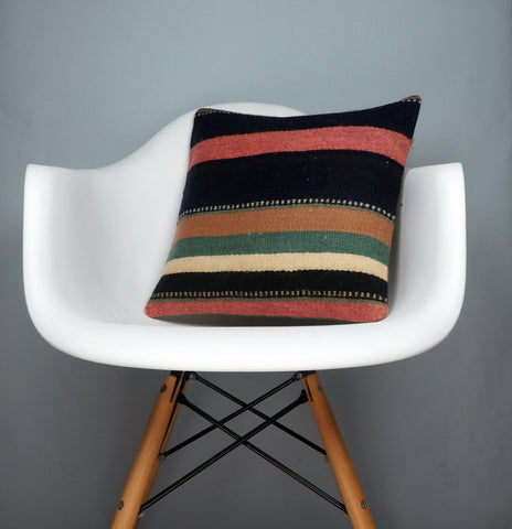 16x16 Hand Woven wool tribal ethnic striped Soft colour Kilim Pillow cushion 2789 - kilimpillowstore  - 1