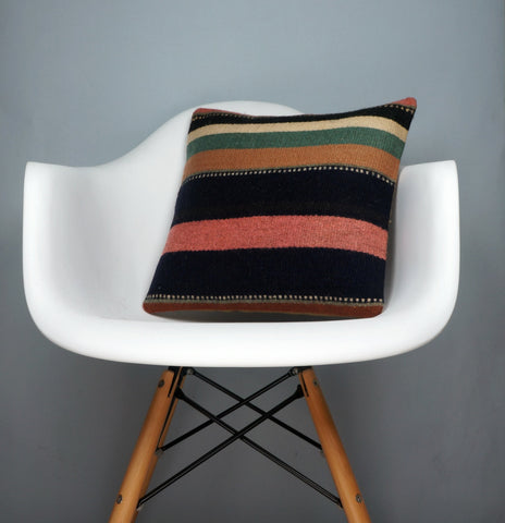 16x16 Hand Woven wool tribal ethnic striped Soft colour Kilim Pillow cushion 2790 - kilimpillowstore  - 1