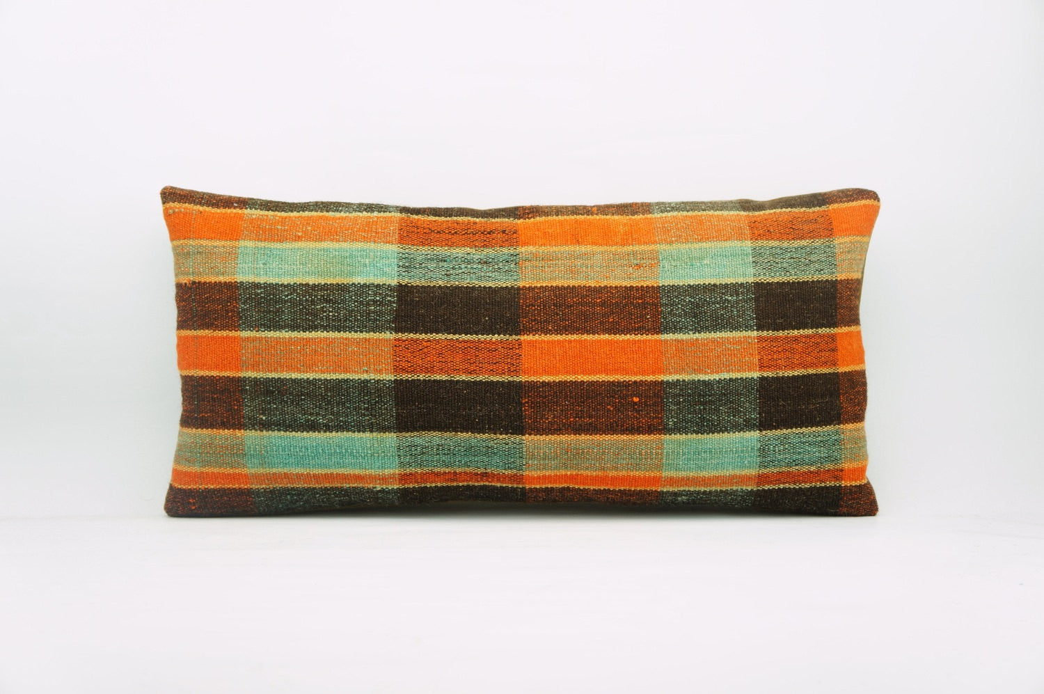 12x24 Vintage Hand Woven Kilim Pillow Lumbar Bohemian pillow case, Modern home decor  orange green brown  striped 969 - kilimpillowstore  - 1
