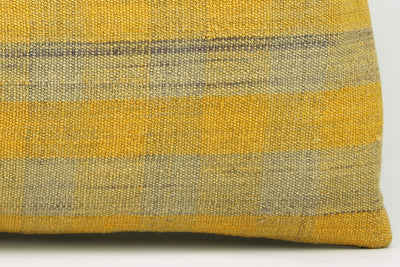 12x24 Vintage Hand Woven Kilim Pillow Lumbar Bohemian pillow case, Modern home decor Yellow beige  striped 979 - kilimpillowstore  - 4