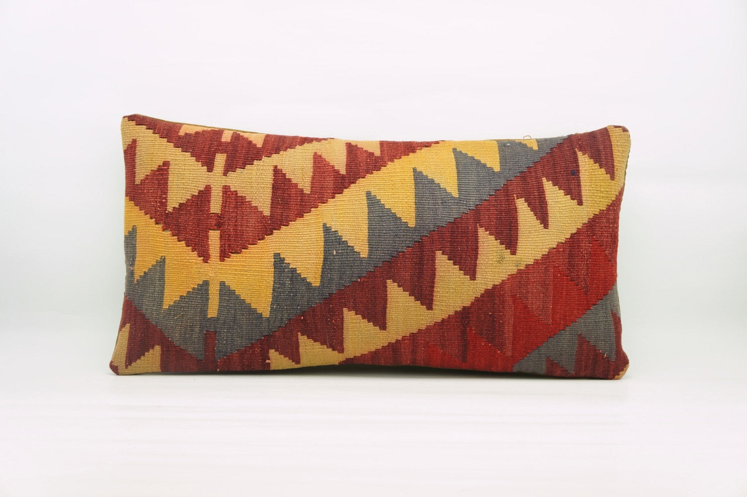 12x24  Red Yellow Gray Chevron cushion cover, Outdoor pillow case, Bohemian kilim pillow cover 1212 - kilimpillowstore  - 1