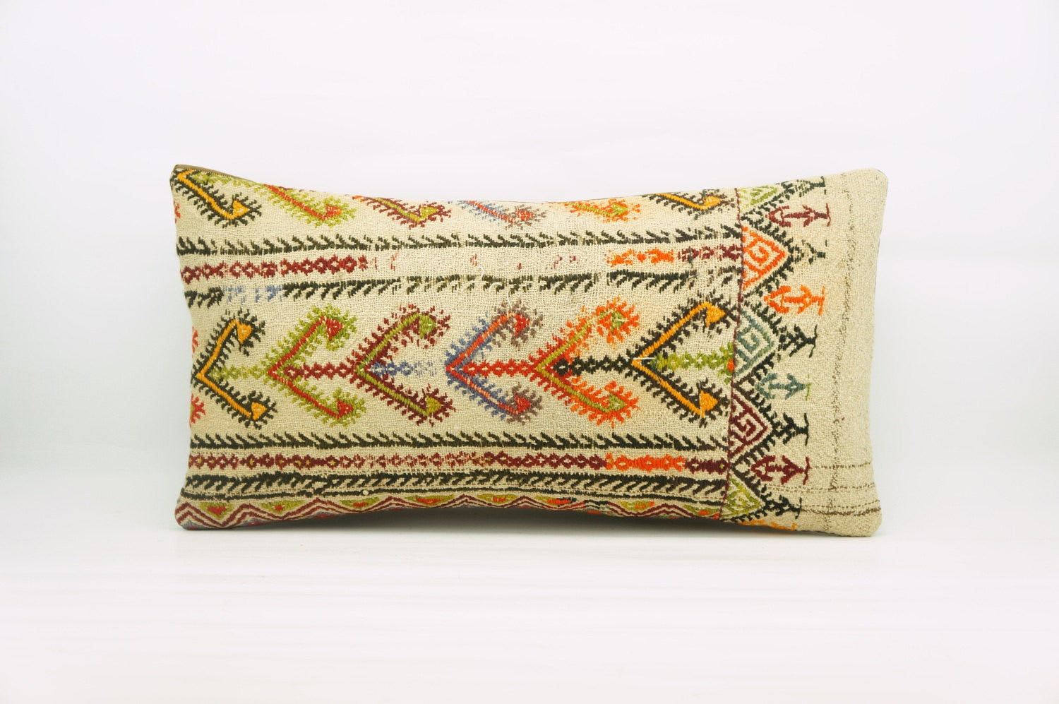 12x24  Geometric kilim pillow sham, Tribal cushion cover, Handwoven pillowcase , mid century decor multi colour 1215