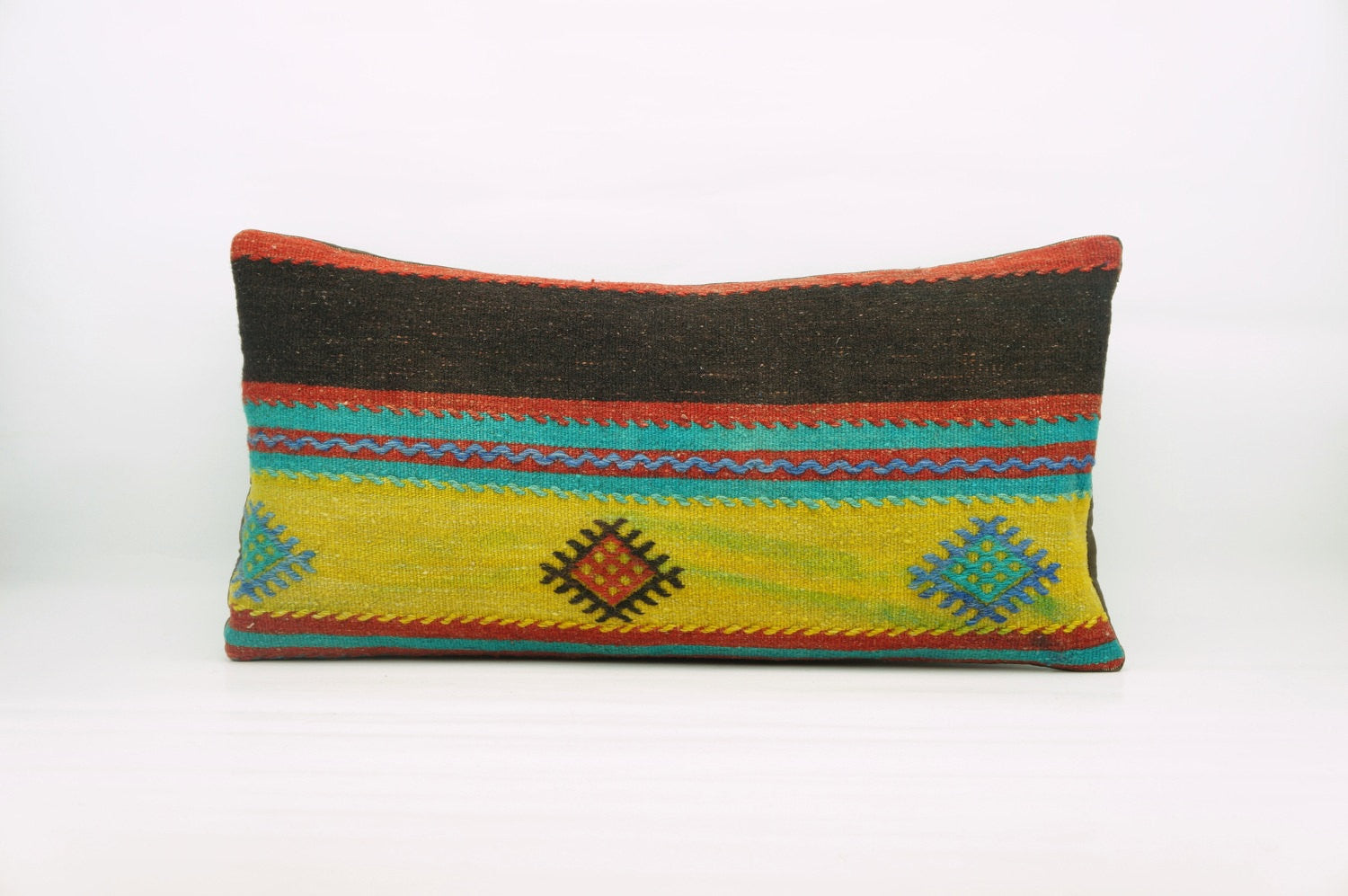 12x24  Geometric kilim pillow sham, Tribal cushion cover, Striped Handwoven pillowcase , mid century decor multi colour 1217