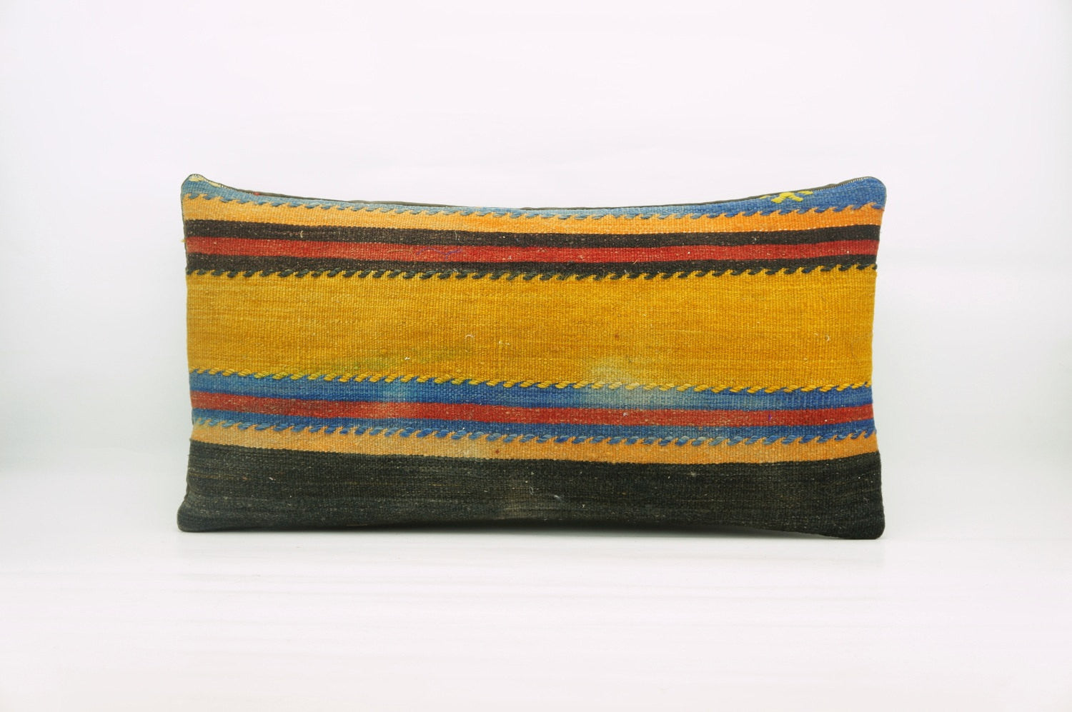 12x24  Geometric kilim pillow sham, Tribal cushion cover, Striped Handwoven pillowcase , mid century decor multi colour 1218