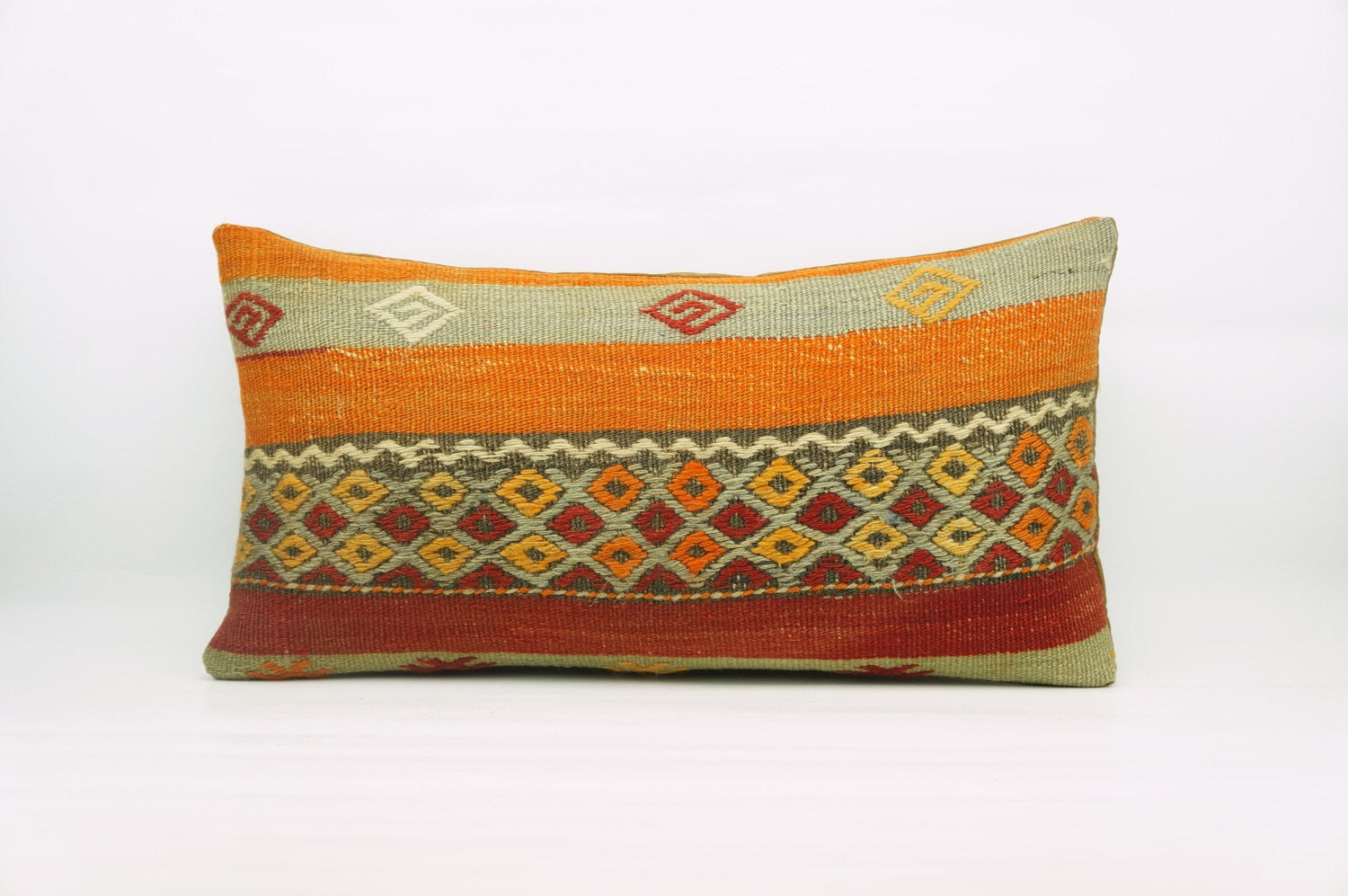 12x24  Geometric kilim pillow sham, Tribal cushion cover, Striped Handwoven pillowcase , mid century decor multi colour 1220