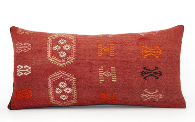 12x24 Geometric kilim pillow sham, Tribal cushion cover, Red,Handwoven pillowcase , mid century decor 1630 - kilimpillowstore  - 2