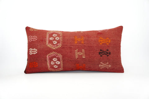 12x24 Geometric kilim pillow sham, Tribal cushion cover, Red,Handwoven pillowcase , mid century decor 1630 - kilimpillowstore  - 1